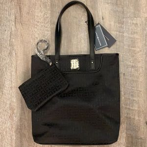 Tommy Hilfiger two in one black tote and purse